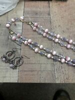 Classic vintage double strand opalescent glass bead 18 in Necklace and earring s
