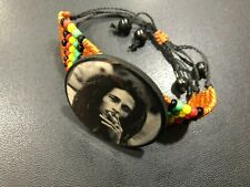 BOB MARLEY BEADED  WRISTBAND/BRACELET WITH ADJUSTABLE TIES 4.5cm width ROOTS
