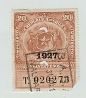 Chile Revenue Fiscal stamp- 3-2-as seen punch cancel-corner fault- 20pesos 1927