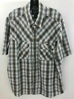Woolrich Mens Pearl Snap Button Up Front Shirt Mens XL Gray Plaid Nylon  A37-13