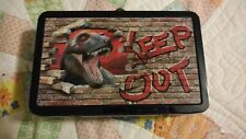 """Dinosaur """"Keep Out"""" Metal Supply Box with Latch School Supplies New! Free Ship!"""