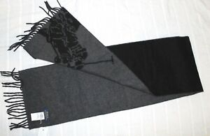 "Polo Ralph Lauren Mens Black Gray Pony Wool Italy Scarf NWT $58 Size 10"" x 70"""