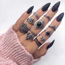 Women's Fashion Jewelry Vintage Bohemian 10 Ring Set Silver Gothic 77-9