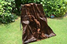 Genuine Real Sheared Muskrat Mink + River Otter Fur Throw Blanket 56X43 rug 3660