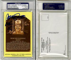Ryne Sandberg SIGNED Baseball Hall of Fame Plaque Cubs PSA/DNA AUTOGRAPHED