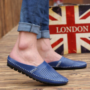New Men Summer Breathable PU Leather Casual Flat Heel Slip On Sandals Seaside