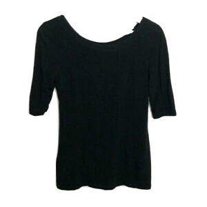 Fogal Luxury Intimates Short Sleeve Top Size S Black Micromodal