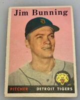 1958 Topps # 115 Jim Bunning Baseball Card Detroit Tigers HOF