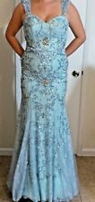 SHERRI HILL LIGHT BLUE Size 6 BEADED/SEQUIN PAGEANT FORMAL PROM GOWN DRESS
