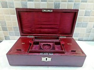 VICTORIAN LEATHER BOUND JEWELLERY & CASH BOX WITH ORIGINAL FITTED INTERIOR+ KEY