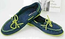 MINNETONKA Hard Sole Mocs Womens 9 Slipper Shoes Moccasins Navy Green Suede U10