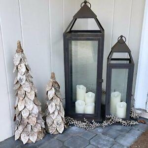 "NEW Pottery Barn Birch Pre Lit Lights Christmas Tree Winter Sm 16"" Original Box"