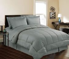 8 Piece Bed In a Bag Hotel Dobby Embossed Comforter Sheet set (King, GRAY)
