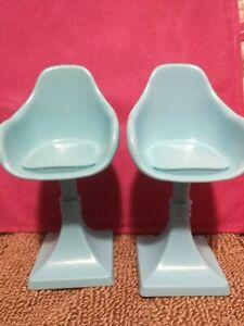 2015 Mattel Barbie Dreamhouse 3 Story Replacement Parts 2 Blue Chairs