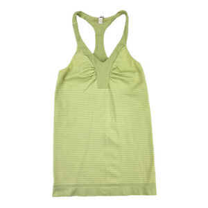 Under Armour Fitted All Seasons Gear Green Striped Racerback Tank Top Sz Small P