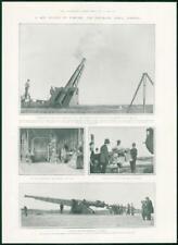 1901 Antique Print - MILITARY Weapon Warfare Pneumatic Aerial Torpedo Gun (241)