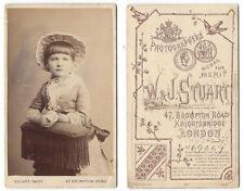 CDV Victorian Child wearing a Bonnet Carte de Visite Photo by Stuart of London