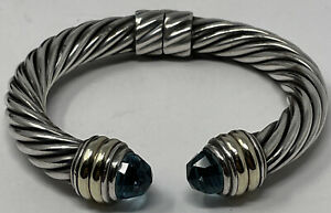 David Yurman 10 MM Cable Classic Bracelet with Blue Topaz and 14k Gold