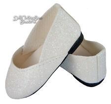 White Glitter Sparkle SlipOn Shoes fits American Girl Doll Clothes 1st Communion