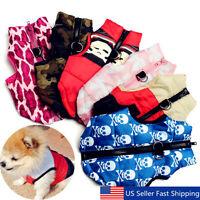 Dog Cat Pet Soft Warm Cotton Padded Vest Jacket Puppy Harness Coat Clothes  USA