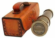 Nautical Brass Dollond London 1920 Telescope Antique Telescope With Leather Case