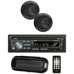 Pyle PLCDBT65MRW Bluetooth Marine Stereo Radio CD Receiver & 2x 6.5'' Speakers