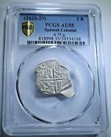 🔥 1 OF 1 *PCGS AU-55 1600s Spanish Silver 2 Reales Two Bits Pirate Cob Coin🔥