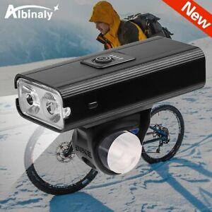 Two T6 LED Bike Light USB Rechargeable 6 Modes Black Aluminium Alloy waterproof
