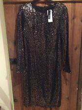 Marks & Spencer Twiggy Black Gold Sequin Party Dress Bnwt Size 16 £89