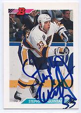 Stephane Quintal signed 1992-93 Bowman card St. Louis Blues autograph #337