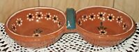 Tlaquepaque Mexican TerraCotta 2 Section Red Clay Salsa Serving Dish or Tray