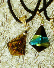MURANO GLASS 2 Pyramid Necklaces on Black Cord MADE IN ITALY