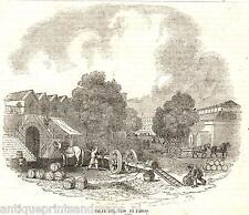 Antique print Quai Saint-Bernard La halle aux vins de Paris 1840