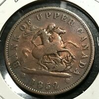 1852 BANK OF UPPER CANADA ONE PENNY TOKEN