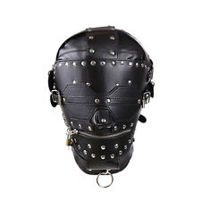 Soft Leather Gimp Bondage Hood Sensory Deprivation Mask Blindfold Zip & Lockable