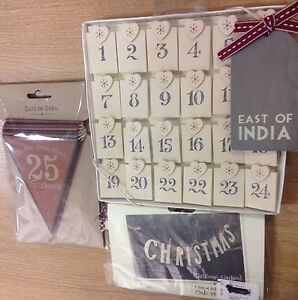 East of India Xmas Garland Bunting Advent Pegs hanging gifts decorations PREMIUM