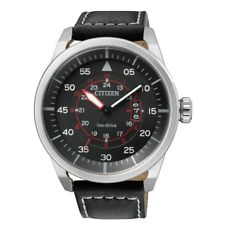 CITIZEN AW1361-01E Eco-Drive Avion Flight Black Dial Leather 100m Men's Watch