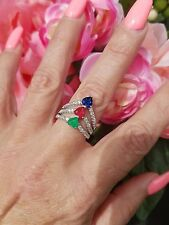 Natural Emerald, Ruby, & Sapphire  Heart Chevron Ring, Sterling Silver, Size 9