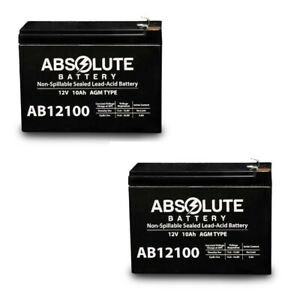 NEW 2 PACK AB12100-S 12V 10AH Replacement for SHOPRIDER ECHO 3 SL73 BATTERY .