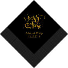 100 Party Time Personalized Printed Wedding Cocktail Napkins