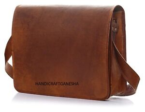 Genuine Retro Vintage Leather Messenger Business Laptop Briefcase Satchel Bag
