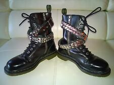 DOC DR MARTENS IZZUE BELTED SPIKED STUDDED BLACK BOOTS RARE UNISEX 5UK US: W7 M6