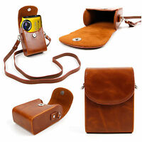 Faux Leather Case with Strap in 'Vintage' Brown for Fujifilm XF1, X-A2, XQ2
