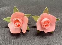 Vintage Celluloid? Hand Painted Pink Flower Screw Back Earrings