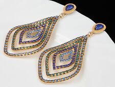 Bohemian style royal blue crystal chandelier golden rhombus stud earrings A18