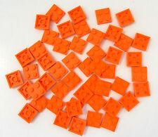 LEGO BRAND NEW BULK LOT OF 50 2x2 2 X 2 ORANGE FLAT PLATE PLATES BASEPLATE
