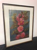"Antique Original Oil Painting Signed Listed Flowers E. Nowak 17x21"" Impression"