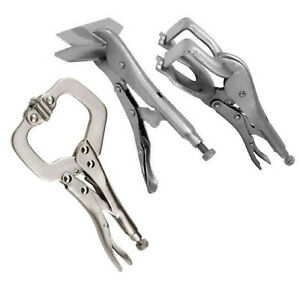 3-pack Locking Grip Welding Clamp Vise C-Clamp Sheet Metal Clamp Plier Tool Set