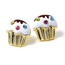 Gold tone Crystal Mini Cupcake Post Earrings