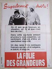 louis de funes LA FOLIE DES GRANDEURS ! affiche cinema model rare promo  -: